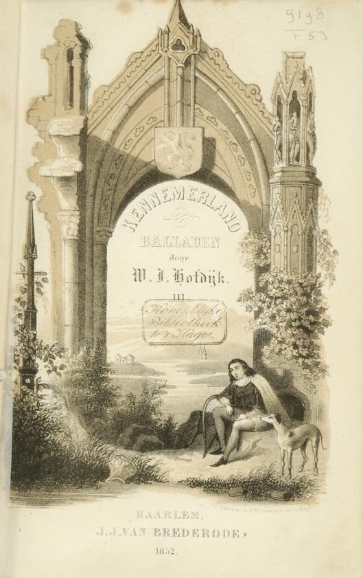 Titelblad van Kennemerland Balladen door W.J.Hofdijk. Haarlem, J.J.van Brederode, 1852