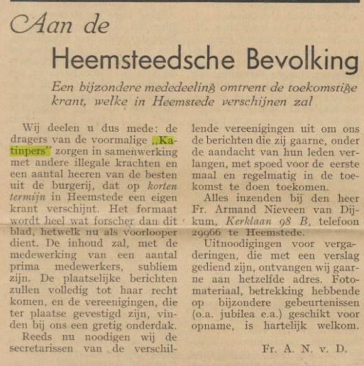 Katinpers Heemstede, 23-11-1945