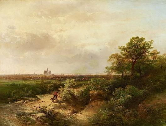 Pieter Lodewijk Franciscus Kluyver (1816-1900): In de duinen bij Haarlem met Oude Bavo op de achtergrond