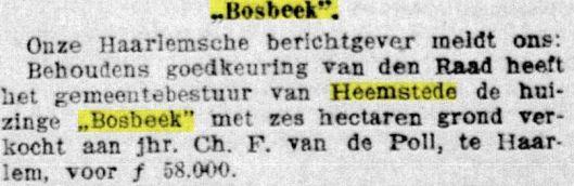 Verkoop van Bosbeek aan Ch.F. van de Poll. Uit: De Telegraaf van 24-2-1915.