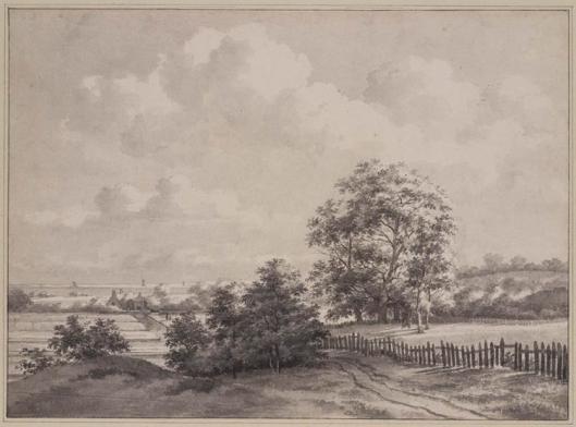 Landschap met bleekvelden bij Bennebroek/De Glip. Op de achtergrond het Haarlemmermeer. Tekening van Daniël Kerkhoff uit 1817 (Teylers Museum)
