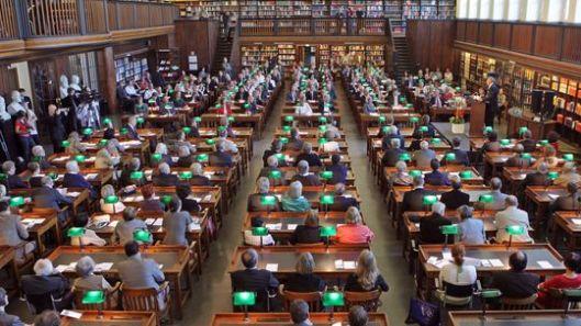 Leeszaal van de Deutsche Bücherei in Leipzig