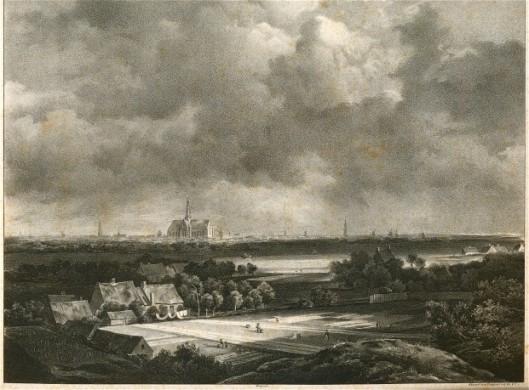 Litho uit 1828 naar een Haerlempje-schilderij van Jacob van Ruysdael, 1670
