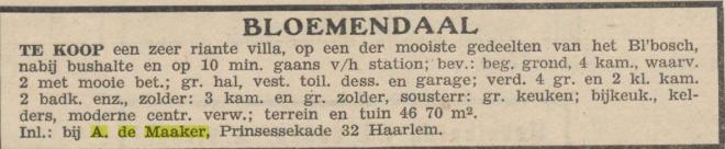 Voorbeeld van advertentie van een huis ontworpen door en aangeboden via A.de Maaker, uit: Amsterdamsch Effectenblad, 2-7-1942.