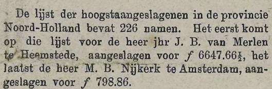 Jhr. J.B.van Merlen als rijkste particulier in de provincie Noord-Holland. Uit: Middelburgsche Courant van 5 mei 1886