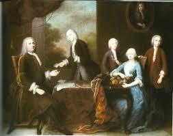 Schilderij van Balthasar Denner uit 1738. Van links naar rechts: Mattheus de Neufville (1686-1743), Aernout van Lennep (1718-1791), Jacob Pieter van Lennep (1723-1772), Petronella de Neufville (1688-1749) = echtgenote van Mattheus de Neufville, en helemaal rechts David van Lennep (1720-1771). Olieverf in particulier bezit (foto RKD-Den Haag).