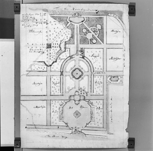 Nog een bewaard gebleven tuinontwerp toegeschreven aan Daniel Marot uit circa 1705 (aanwezig bij Rijksdienst voor het Cultureel Erfgoed)