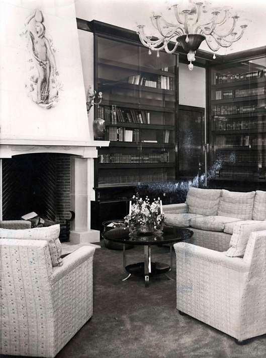 Zitruimte en bibliotheek in paleis Soestdijk. Baarn, 1939