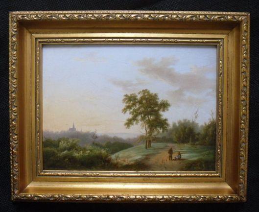 Panoramisch duinlandschap met zicht op Oude Kerk in Haarlem, toegeschreven aan A.Schelfhout (1787-1870) uit 1847. Vermoedelijk vanuit Santpoort geschilderd.