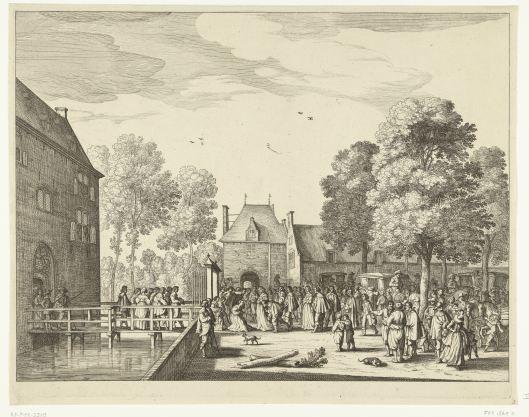 Visite op het voorterrein van het Huis te Heemstede door de Engelse koningin Maria Henrietta aan Adriaan Pauw op 19 mei 1642.Ets in 1642 in boekvorm uitgegeven in opdracht van Pieter Nolpe naar een tekening van Jan Martszen de Jonge.