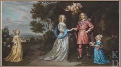 Adriaan Pauw (1622-1697) en echtgenote Cornelia Pauw (1626-1692) + 2 van hun zes kinderen van wie alleen Anna Christina (rechts op het schilderij) in leven bleef. Doek van Johannes Mijtens uit 1653. (foto RKD-Den Haag)