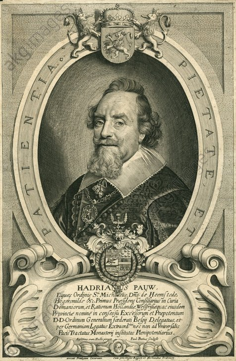 Kopergravure Adriaan pauw uit 1648 vervaardigd door Paulus Pontius naar een schilderij van Anselmus van Hulle