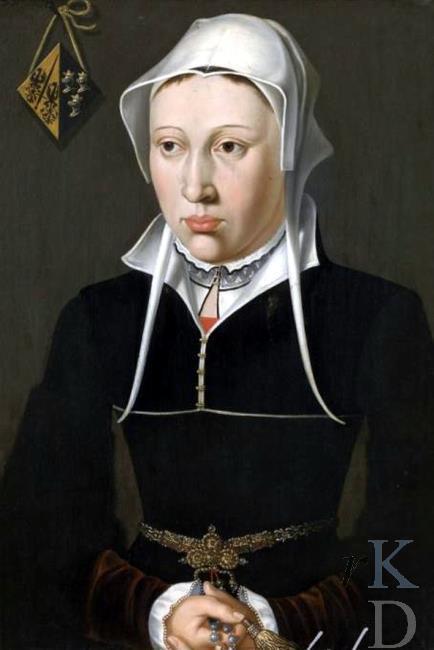 Portret van echtgenote Jan de Fevere met blazoen drie gekroonde helmen