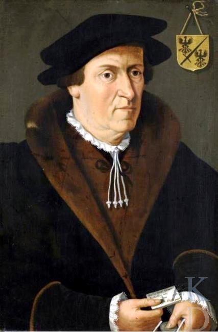 Portret van Jan de Fèvre (le Fèvre). Anoniem. Bevat monogram PV (RKD)