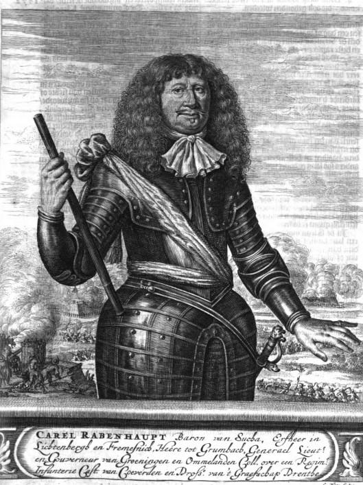 Carel Rabenhaupt. Portret van Romeijn de Hooghe uit 'Tooneel des Oorlogs...'