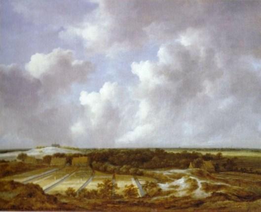 Een 'Haerlempje' van Jacob van Ruisdael. Gezicht op bleekvelden van firma De Mol en zicht op huis Hartenlust. In de verte de oude Bavokerk van Haarlem. (foto Haboldt)