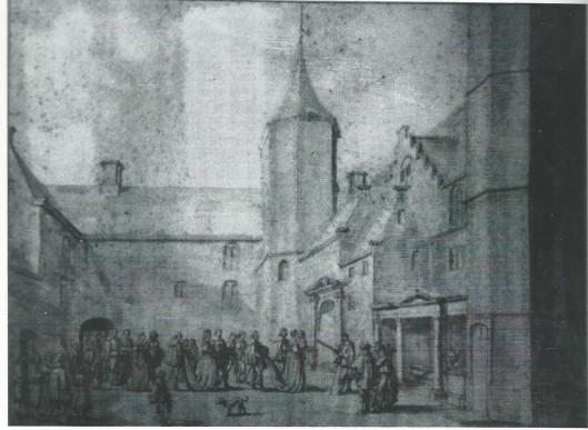 Adriaan pauw ontvangt de Franse koningin-moeder Maria de' Medicis september 1638 op het Huis te Heemstede. Tekening van Jan Martsen de Jonge (origineel in bezit van A.C.van Houten-Beels)