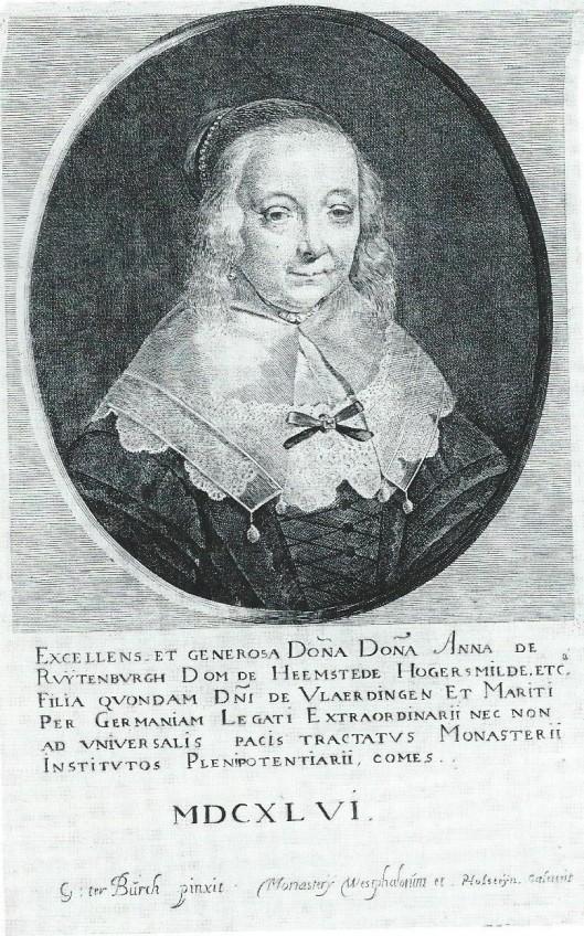 Portret van Anna van Ruytenburch, echtgenote van Adriaan pauw. Gravure door Pieter Holsteyn naar het schilderij van Gerard Terborch uit 1646 [Zij was toen ziekelijk en overleed in 1648].