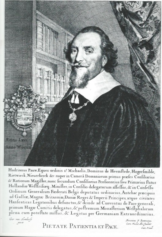 Adriaan Pauw in zijn bibliotheek, gegraveerd door Cornelis Visscher naar een (verloren geraakt) schilderij van Gerard van Honthorst