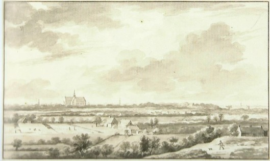 Tekening van Aert Schouman (1710-1792) uit circa 1750 van blekerijen te Overveen, met gezicht op Haarlem (NHA).