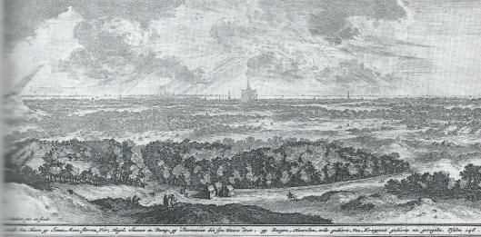 Kopergravure van Gezicht op Haarlem. Uit: Jan van Westerhoven, De Schepper verheerlijkt in zijn schepselen, 1737.