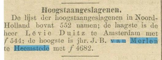 Hoogstaangeslagenen in Noord-Holland. Uit: Algemeen Handelsblad van 5 mei 1893