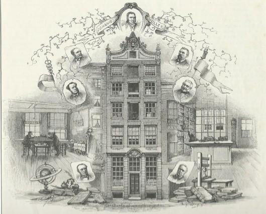 Gravure van het voormalig 'Bibliopolium' van de firma Johannes Muller aan het Rokin/de Kalverstraat te Amsterdam. Naar een tekening van J.D.Ebersbach. Frederik Muller (1817-1881) leerde het vak van antiquaar bij zijn oom Johannes Muller.