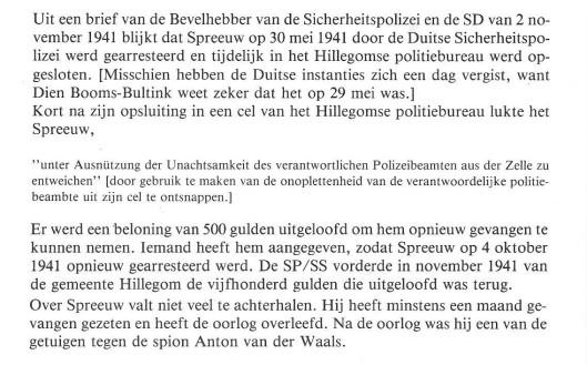 Over Egbert Spreeuw uit Hillegom [verzetsgroep Broeder Joseph]. Uit: 'Hillegom '40-45'.