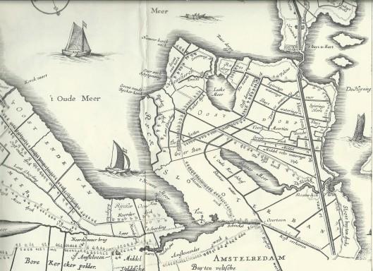 Fragment van kaart van Holland door Jacob Aertsz. Colom uit 1639, herzien in 1647, met vermelding van Nieuwerkerck, Rijck (Rietwijk) en Rijcker oord (Rietwijkeroord)