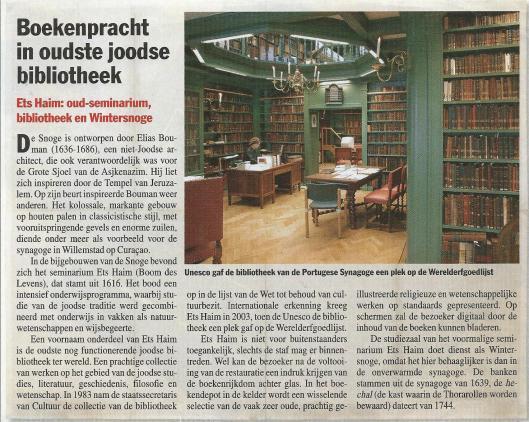 Ets Haim. Artikel uit Elsevier van 10-12-2011