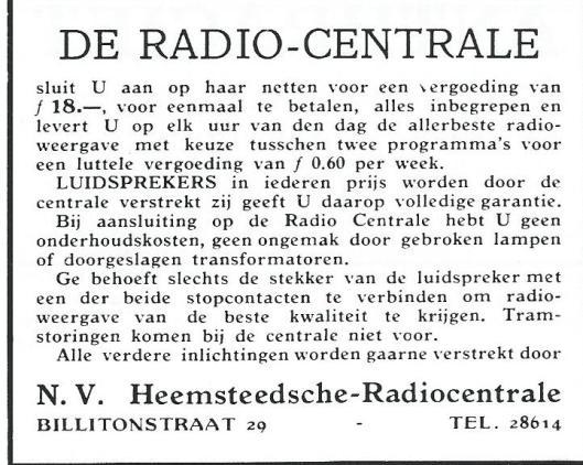 Advertentie van de N.V.Heemsteedsche-Radiocentrale uit 1931