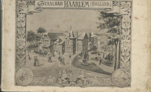 Voorzijde van een boekje over het brongebouw, uitgegeven door de Maatschappij tot exploitatie van staalwaterbronnen te Haarlem.