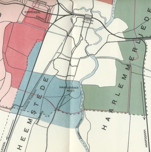 Deel van overzichtskaart van het ontwerp tot uitbreiding der gemeente Haarlem. Uit: Waarom en in welken omvang grenswijziging van Haarlem. 1925. Blauw gearceerd = bij Haarlem te annexeren gebied van Heemstede; rood van Bloemendaal bij Haarlem en groen van Haarlemmerliede en Spaarnwoude.