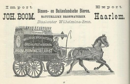 Joh. Boom, import en export van bieren en bronwateren, Haarlem