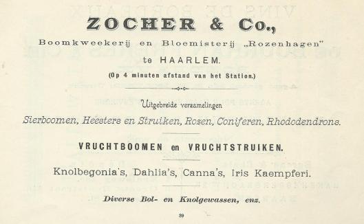 Adv. boomkwekerij en bloemisterij 'Rozen'hagen' van Zocher & Co.
