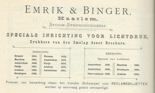 Adv. steendrukkerij Emrik & Binger Haarlem