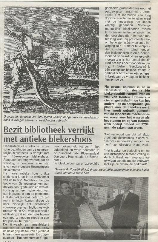 Artikel uit de Heemsteder van 29 mei 1996 over schenking van een antieke blekershoos