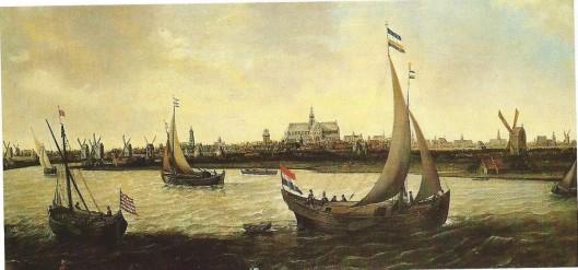 Panorama van Haarlem vanaf het Noorder Buiten Spaarne. Schilderij door Hendrick Cornelisz. Vroom (circa 1562-1640)