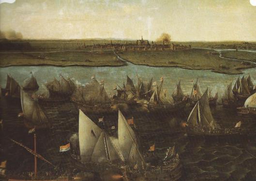 Gezicht op Haarlem vanaf het Haarlemmermeer waar 29 maart 1575 een 'zeeslag' plaatshad tussen de Hollandse en Spaanse vloot. In opdracht van het stadsbestuur maakte H.C.Vroom een schilderij van dit historische tafereel (Rijksmuseum Amsterdam)