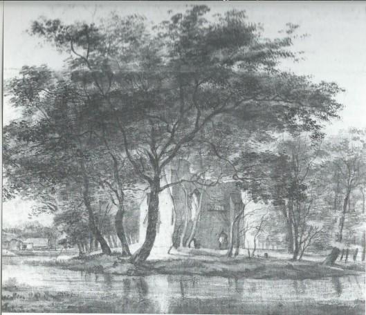 Overblijfselen van het middeleeuwse huis Oosterwijk. Gravure van C.Pronk en H. Spilman uit 1740. Tegenwoordig resteren nog slechts enkele fundamenten.