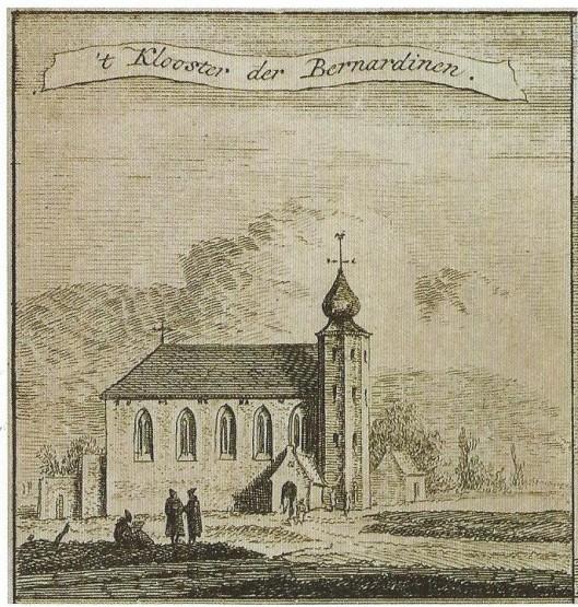 Kapel van het Bernardietenklooster de Hemelpoort. Prent van Hendrik Spilman uit 1764 nar de plattegrond van Thomas Thomaszoon uit 1578 met 25 prentjes van de 'geestelijke gestichten' in Haarlem, inclusief 1 in Heemstede.