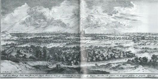 Coenraad Decker (1651-1685). Gezicht op Haarlem vanaf de duinen. Ets uit 1685
