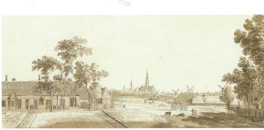 Tekening uit 1777 door Hendrik Tavenier van blekerij Gehrels aan het Binnenpad Overveen
