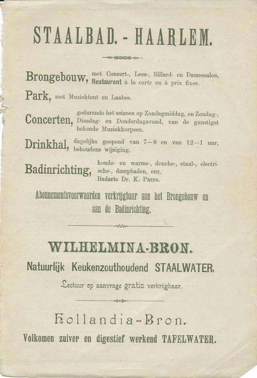 Advertentie van brongebouw-staalbad Haarlem uit 1897
