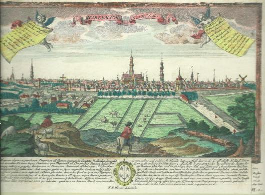 Vue de la ville de Harlem en Hollande, G.B.Probst uitg., F.B.Wernher del. Vogelvluchtgezicht op de stad met rechts de trekvaart Haarlem-Amsterdam en links het Zuider Buiten Spaarne. In 1729 bracht Wernher een bezoek aan Holland en vermoedelijk is toen de tekening ontstaan,.