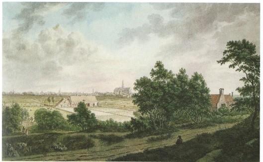 Gezicht op Haarlem vanaf de strandwal van Bloemendaal. Tekening van F.A.Milatz, circa 1800