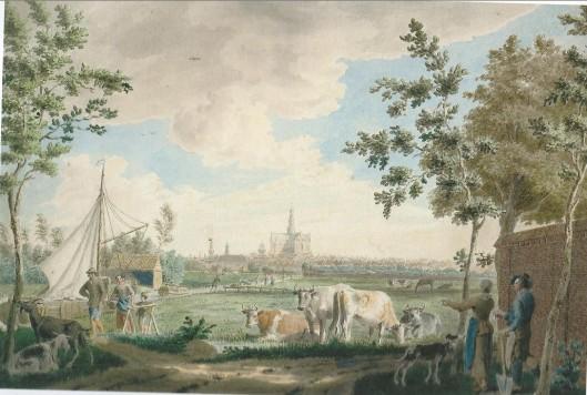 Gezicht op Haarlem over de Brouwersvaart, getekend door Cornelis van Noorde in 1767.