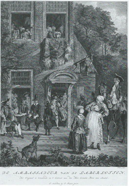 'De Ambassadeur der Labberlotten', ets door Pelletier, 1764.