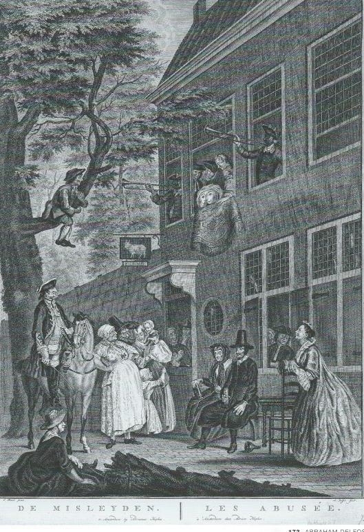 'De Misleyden', gravure van Abrham Delfos (1731-1820)
