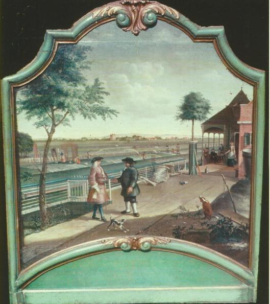 Anonieme schildering van een blekerij, circa 1735. Vermoedelijk een voorstelling van blekerij 'Garenlust', gelegen in buurtschap de Dompvloed bij Overveen. Op de achtergrond zien we van rechts naar links de Hervormde Kerk van Bloemendaal, hofstede Hartenlust en de koepel van huis 'de Beek'